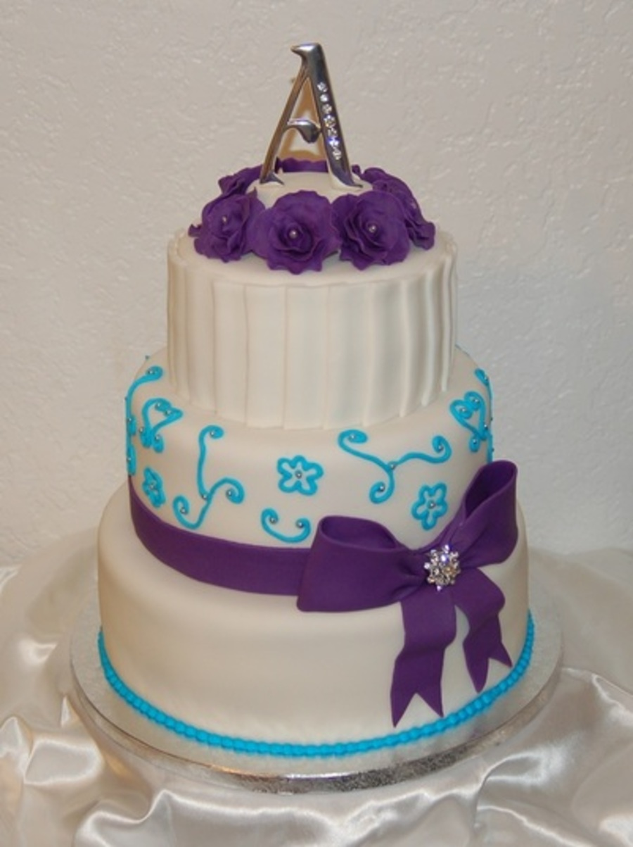 wedding cakes turquoise and purple purple and turquoise wedding cake cakecentral 25793