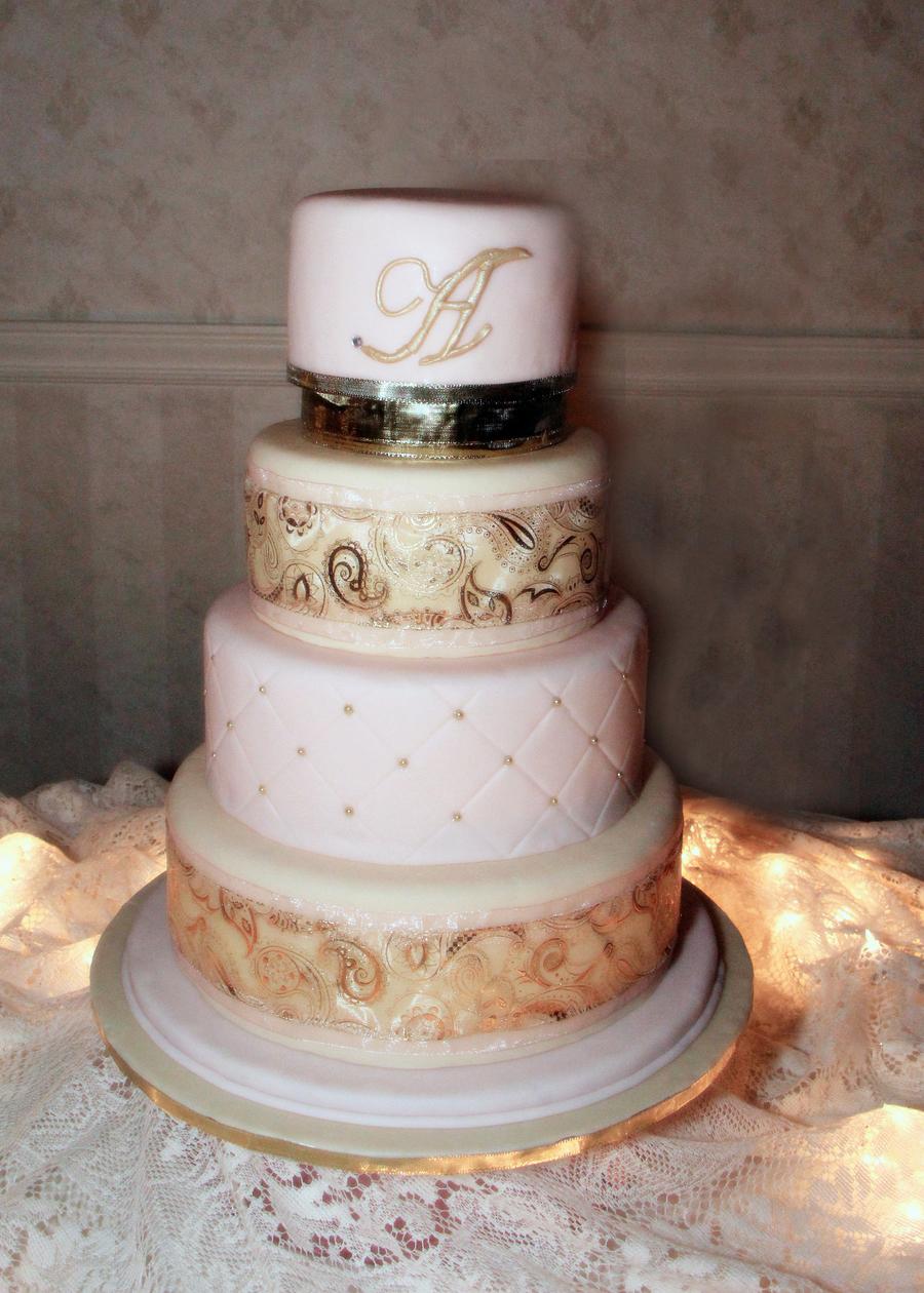 White Almond Wedding Cake.Pale Pink Wedding Cake Fondant Fake Top Tier Is Real White Almond