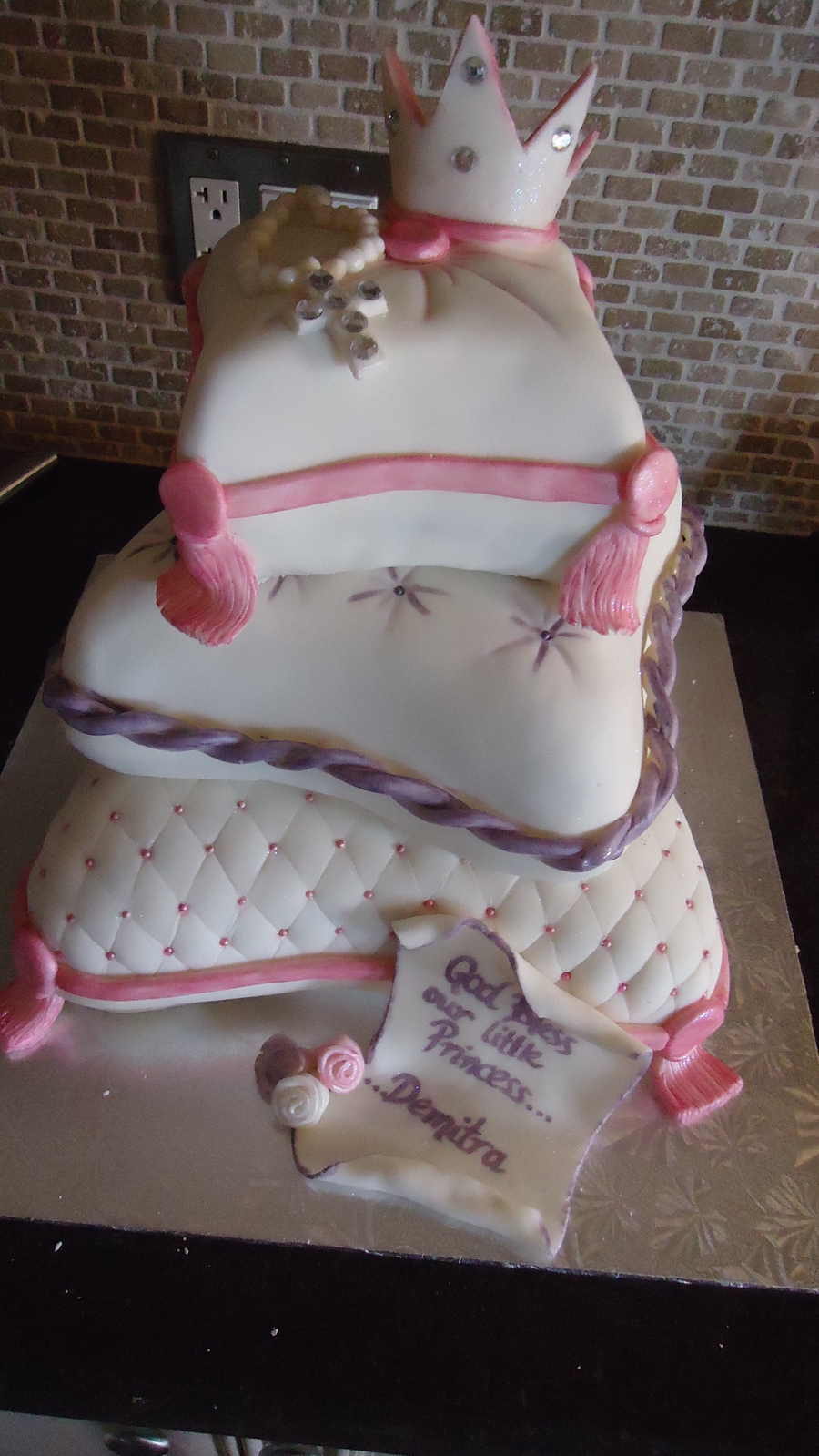 Baptism Pillow Cake on Cake Central
