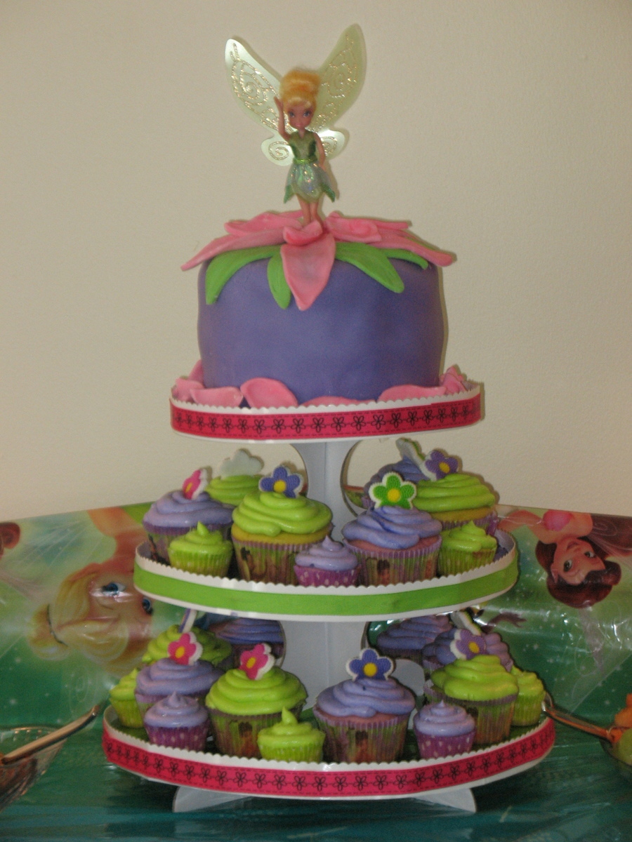 Peachy Tinkerbell Birthday Cake And Cupcake Tower Cakecentral Com Personalised Birthday Cards Cominlily Jamesorg