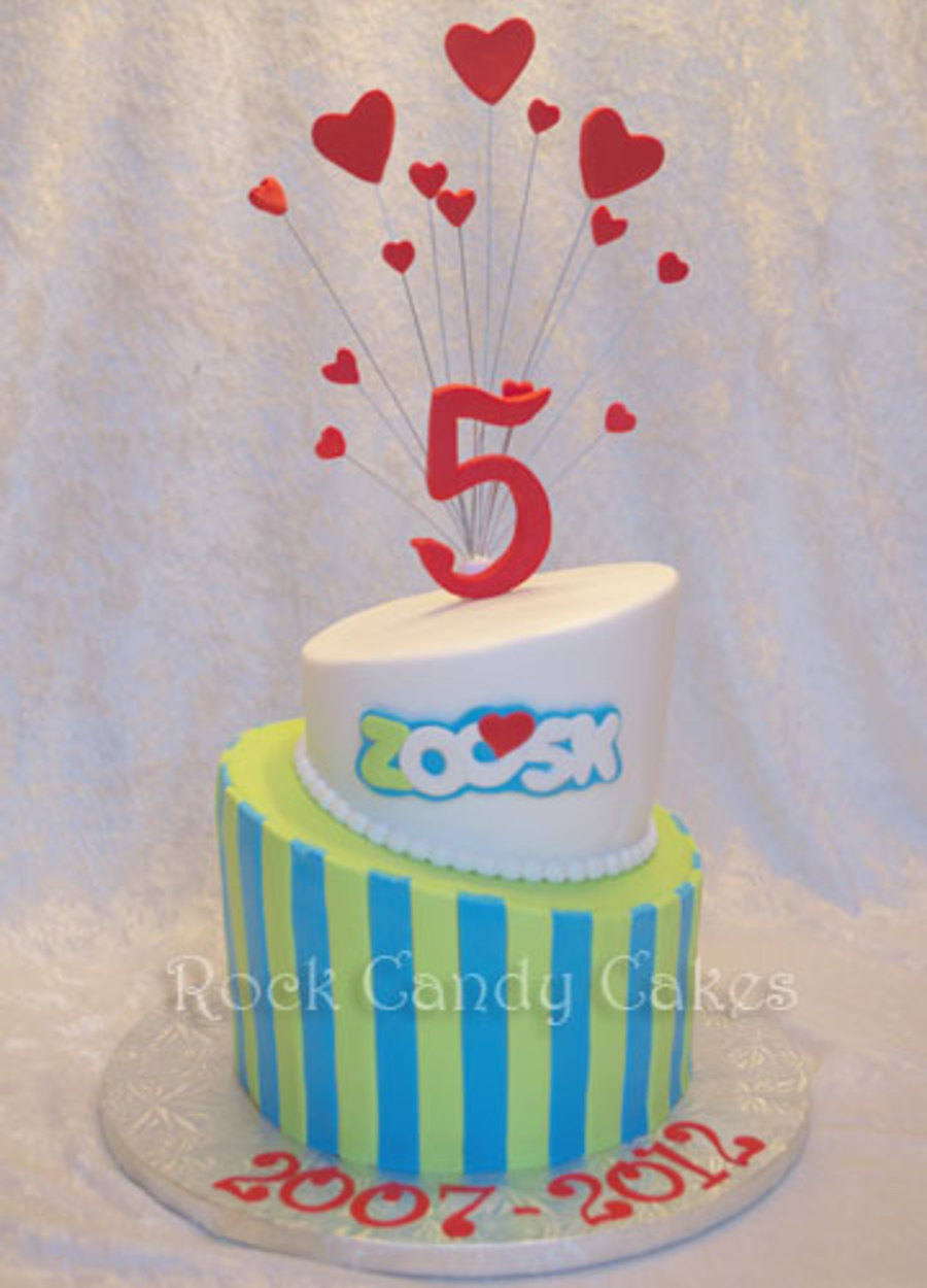 Made For Zoosks 5 Year Anniversary Party They Are An On Line Datingcouples Social Network 68 Topsy Turvy Cake With Their Logo Carved on Cake Central