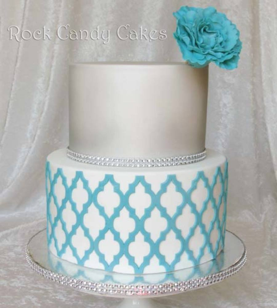 Silver And Turquoise Moroccan Cake on Cake Central