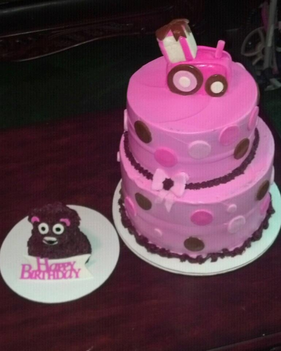 Pink Tractor And Teddy Bear Smash Cake on Cake Central