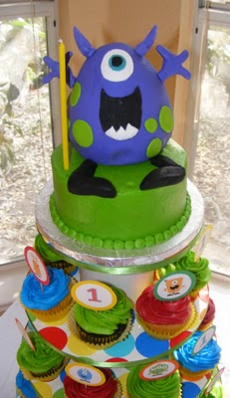 Tremendous Monster Birthday Cake Cupcake Tower Cakecentral Com Funny Birthday Cards Online Inifofree Goldxyz