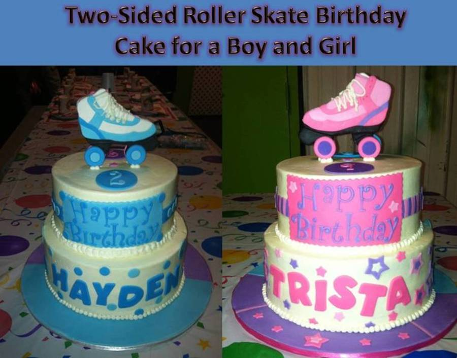 TwoSided Roller Skating Birthday Cake For A Brother And A Sister