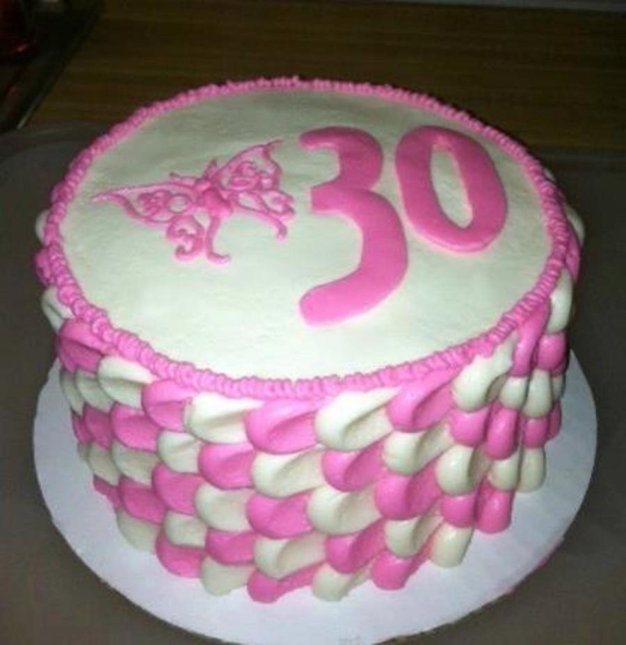 Pink And White Petal Effect Cake  on Cake Central