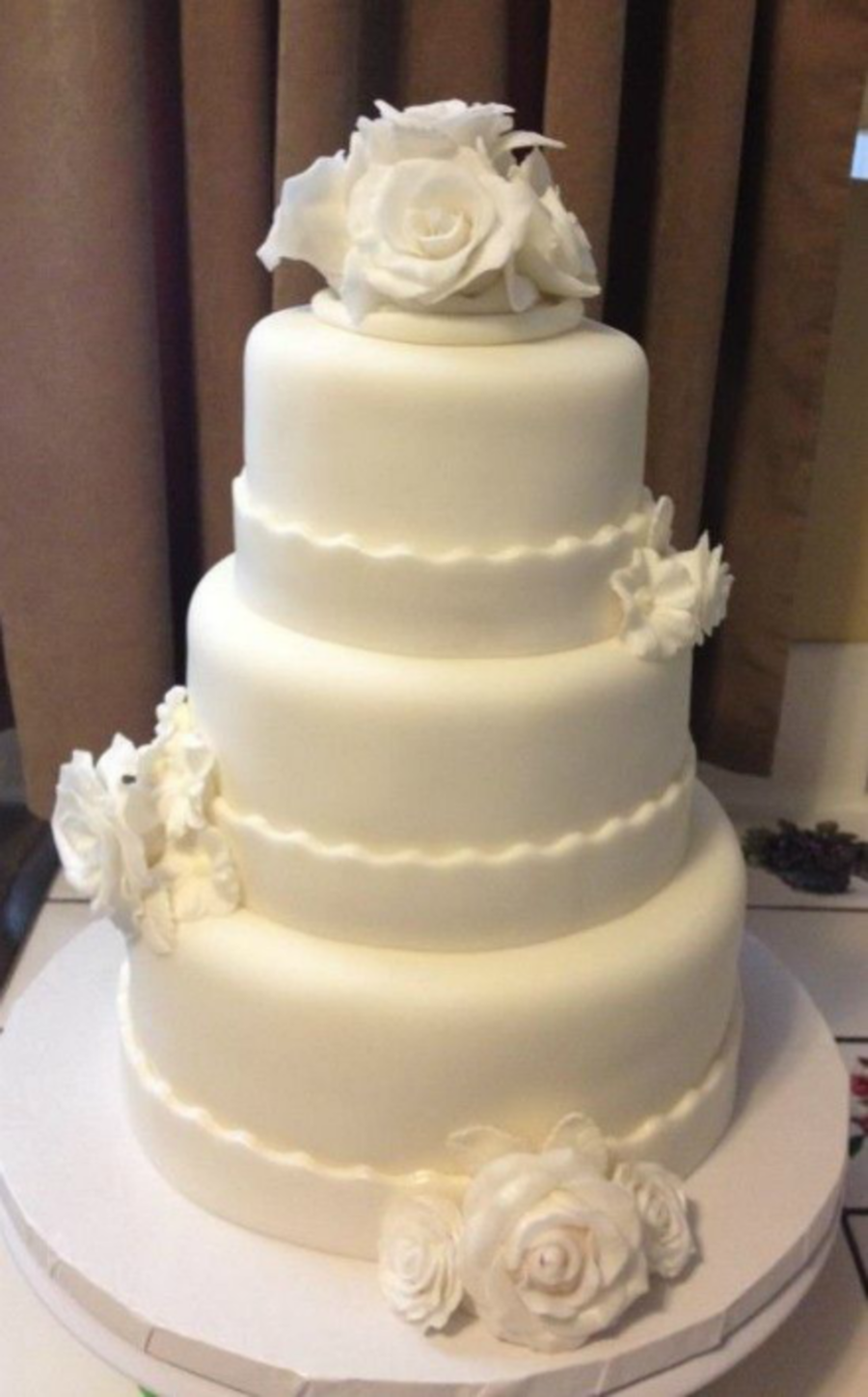 Three-Tiered White Wedding Cake With Roses on Cake Central