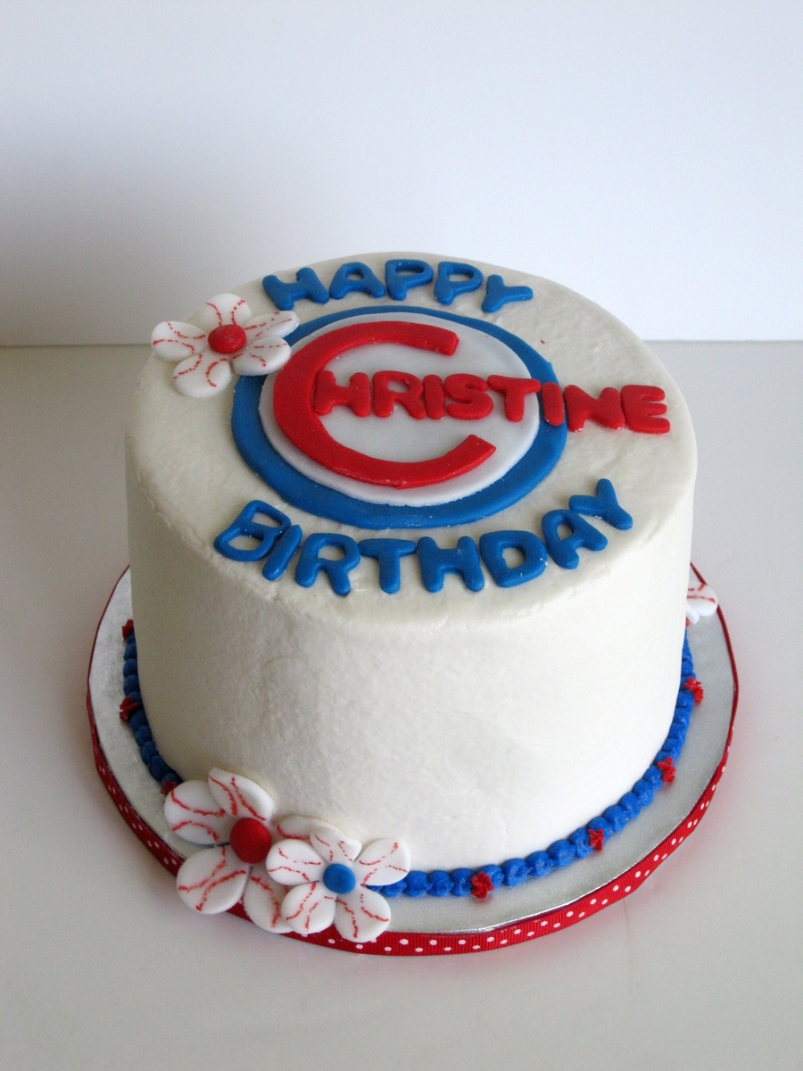 Feminine Chicago Cubs Birthday Cake on Cake Central