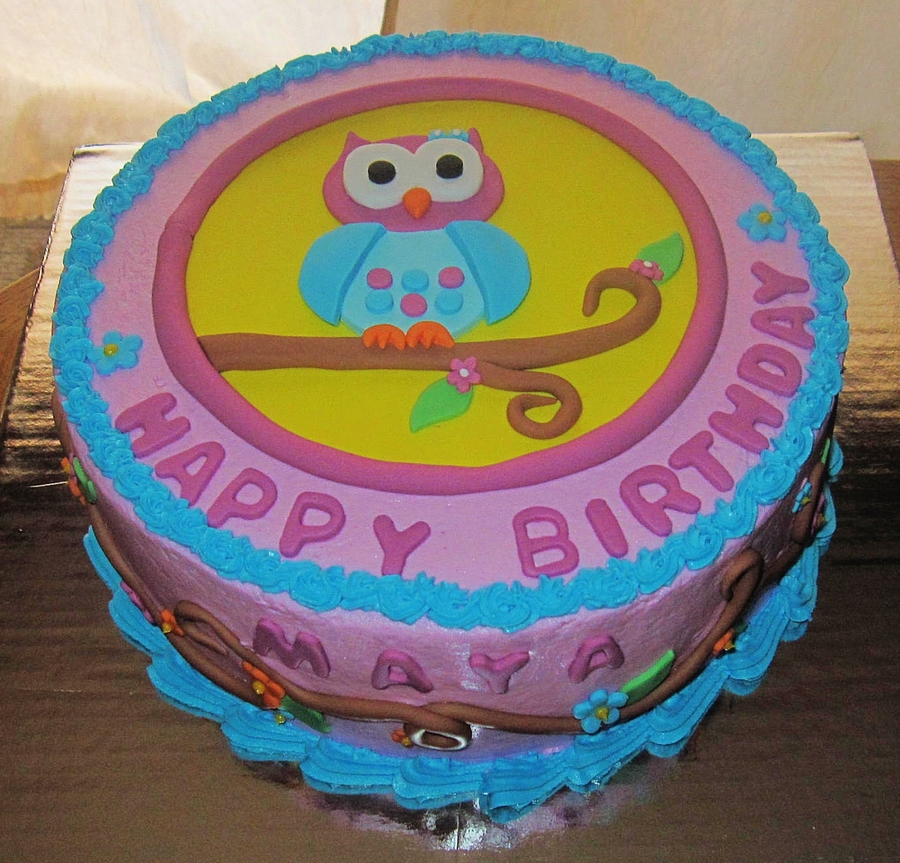 Cake For A Little Girls 2nd Birthday Mom Sent Me The Design Of Decorations And Wanted To Be Same She Was Very Happy With It Owl