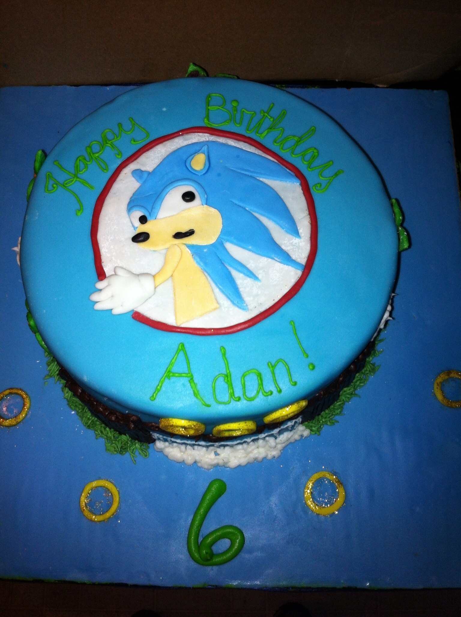 Sonic The Hedgehog Cake With Fondant And Buttercream Cakecentral Com