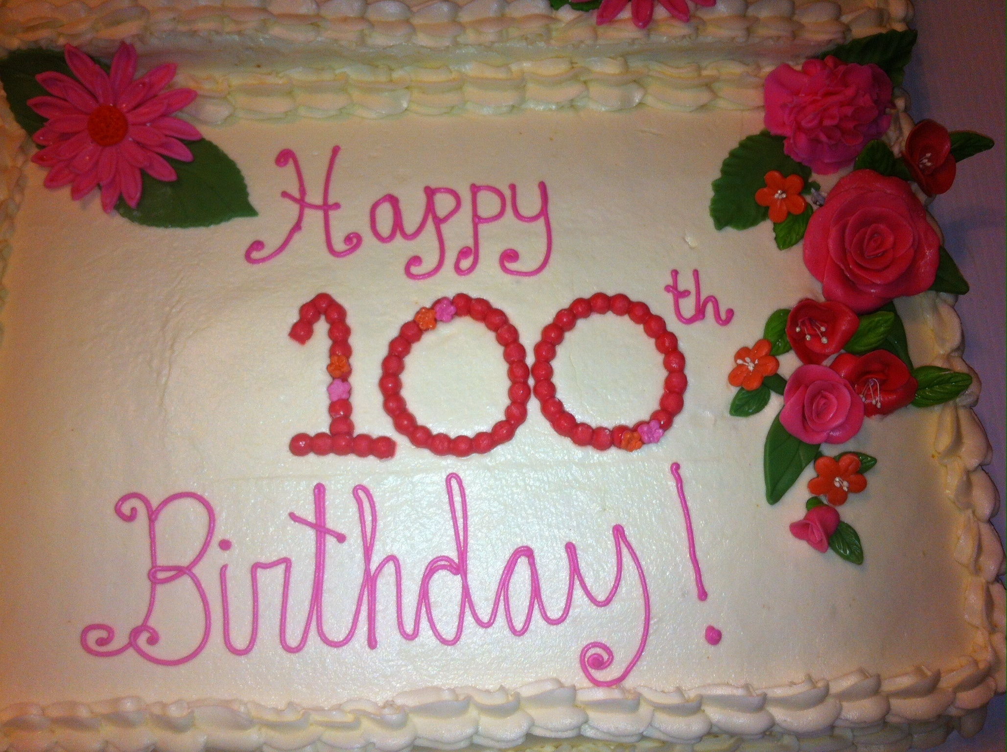 100th Birthday For A Friend Who Loves Pink Iced In Buttercream With