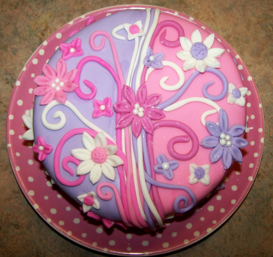 Pink Purple Two Tone Flower Cake on Cake Central
