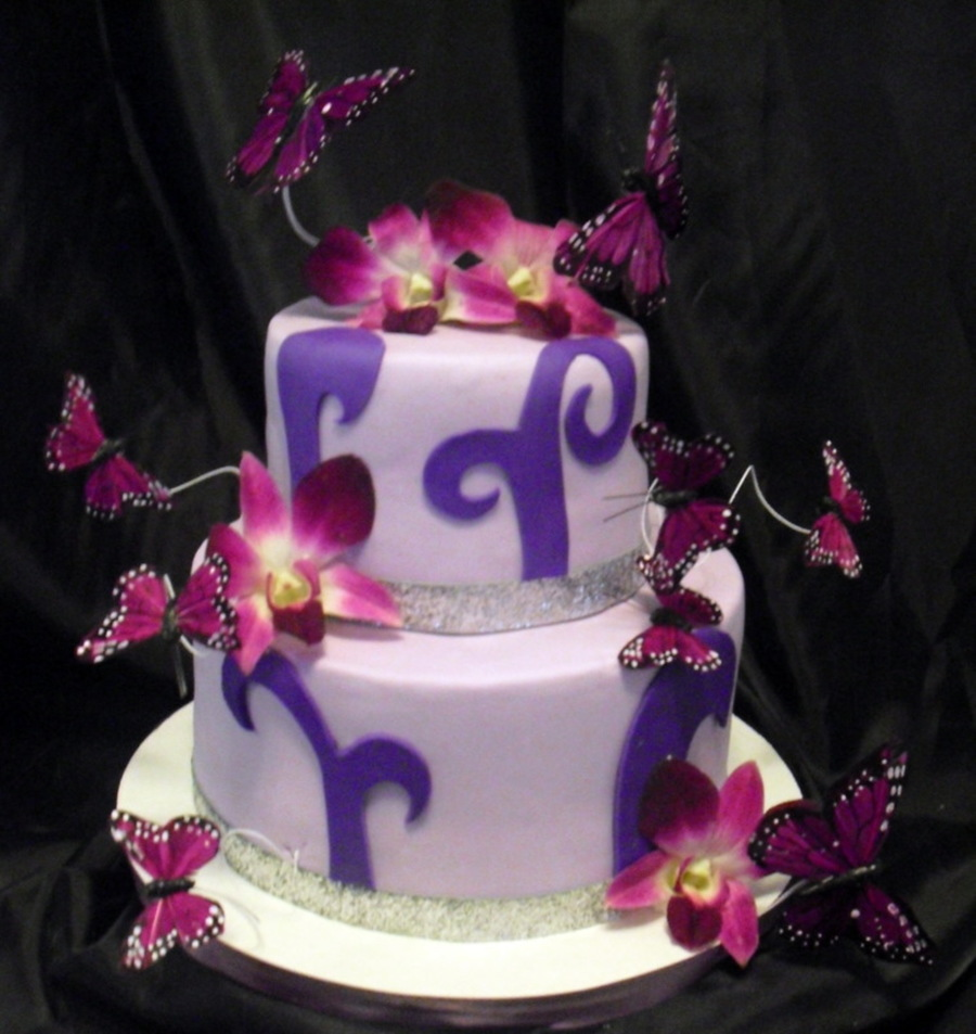 Purple Orchid And Butterfly Cake  on Cake Central