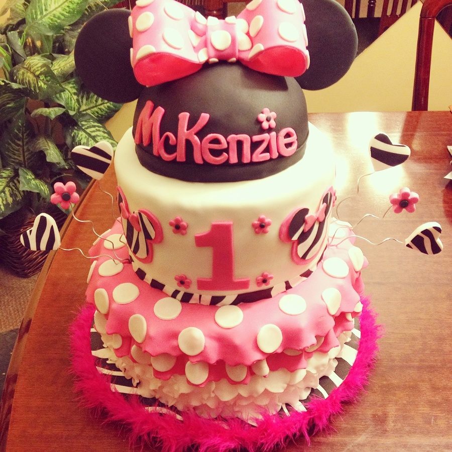 Minnie Mouse And Zebra 1St Birthday Cakes