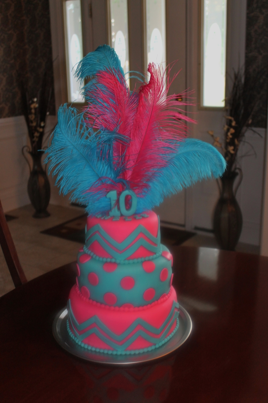 Chevron And Polka Dots Cakecentral Com