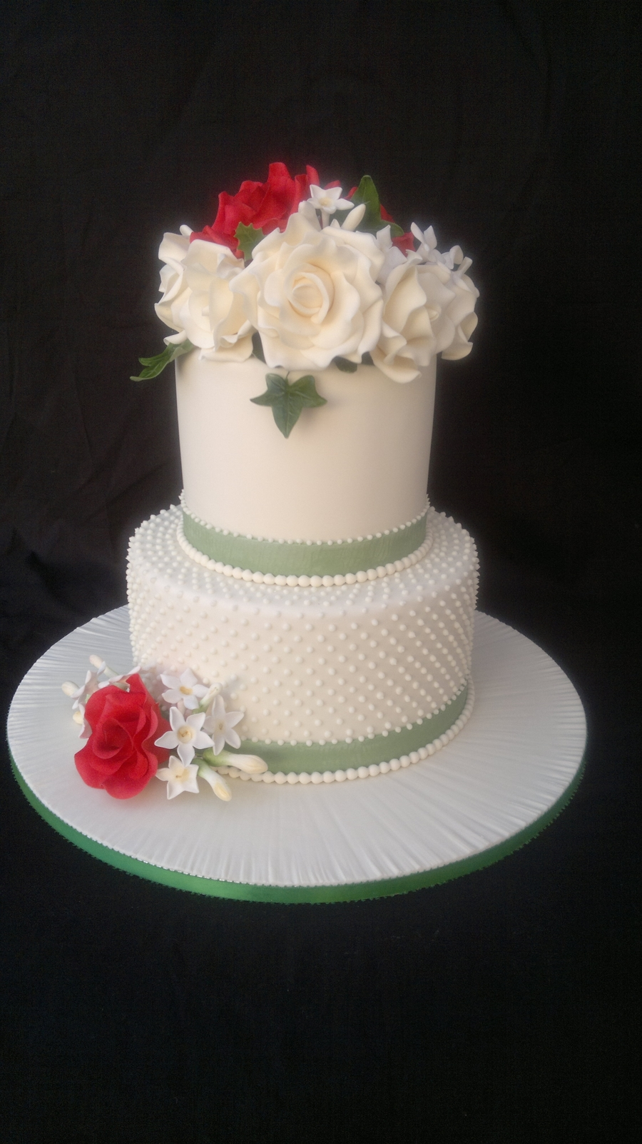 2 tier round wedding cakes pictures 2 tier ivory dot wedding cake cakecentral 10136