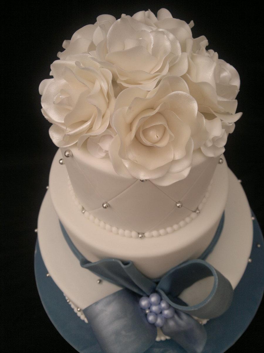 3 Tier Round White Wedding Cake