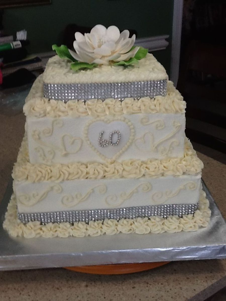 60Th Wedding Anniversary Cake For A Lovely Couple Wedding Cake Flavored Layers With Butter Cream Icing And Hand Piped Designs on Cake Central