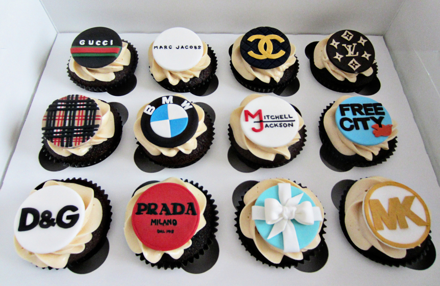 Cupcakes With The Birthday Boys Favourite Labels And His Own Personal Logo Thrown Into The Mix on Cake Central