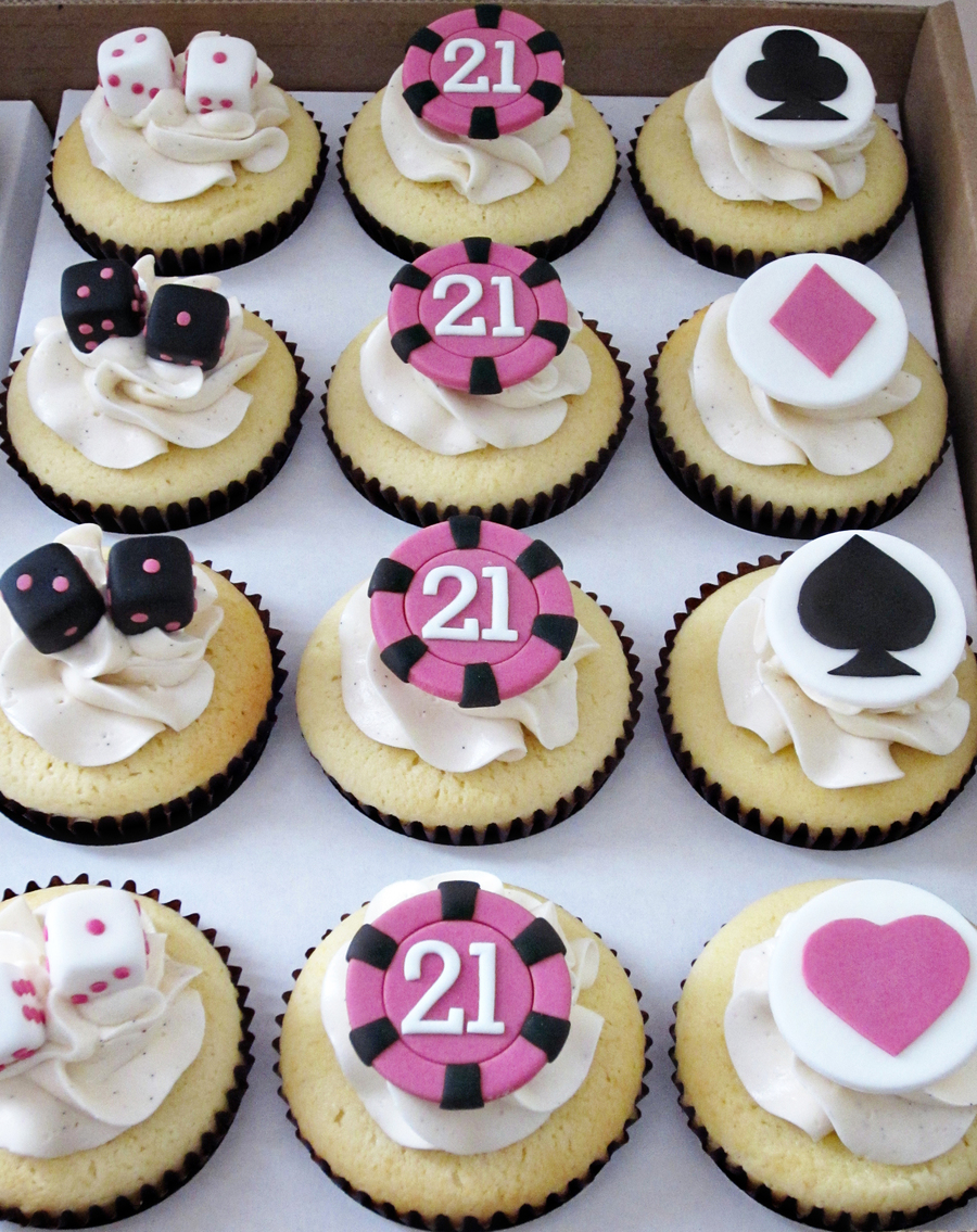 What Do You Give The Girl Celebrating Her 21St Birthday In Vegas Casino Themed Cupcakes Poker Chips Dice And Card Suits In A Colour Schem on Cake Central