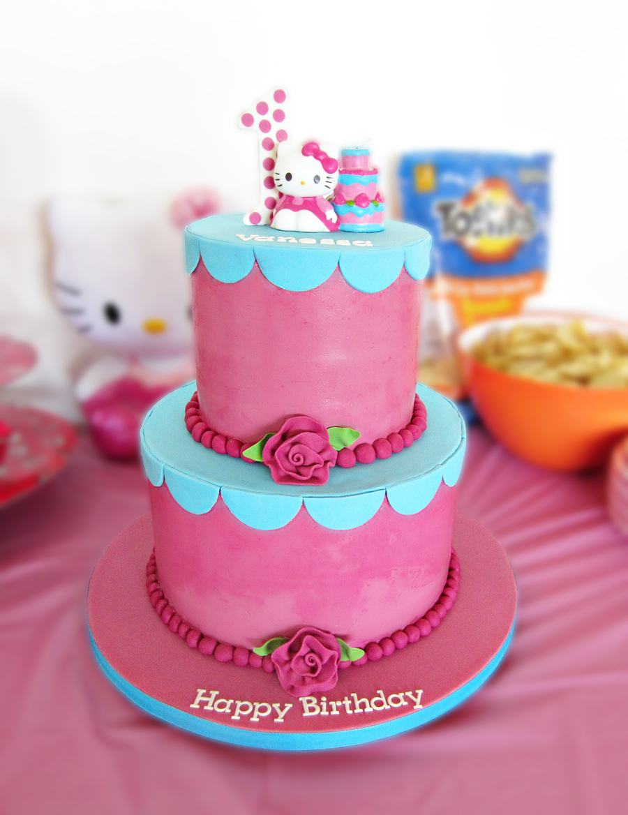 Pink And Blue Hello Kitty Cake For Vanessas First Birthday