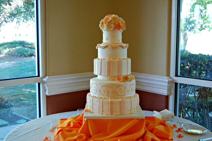Ivory And Orange Wedding Cake on Cake Central