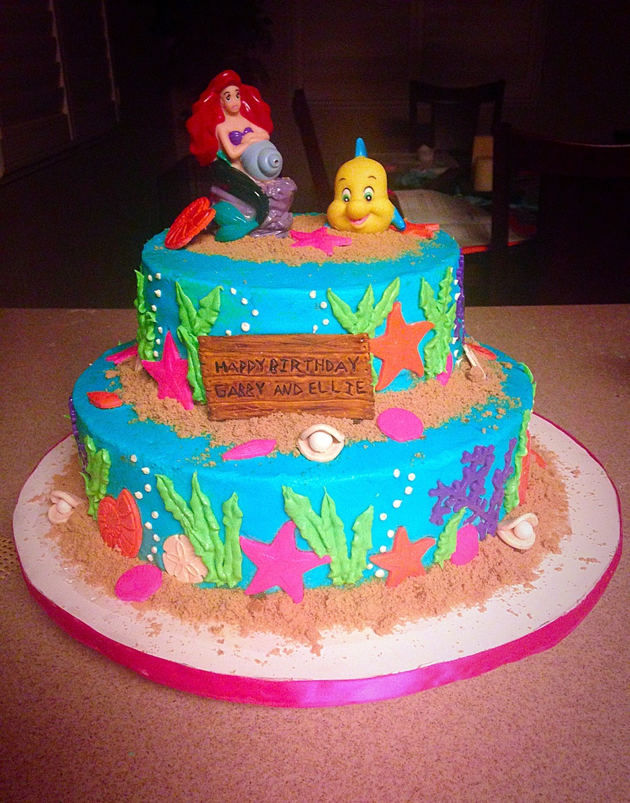 The little mermaid under the sea cake for Ariel cake decoration