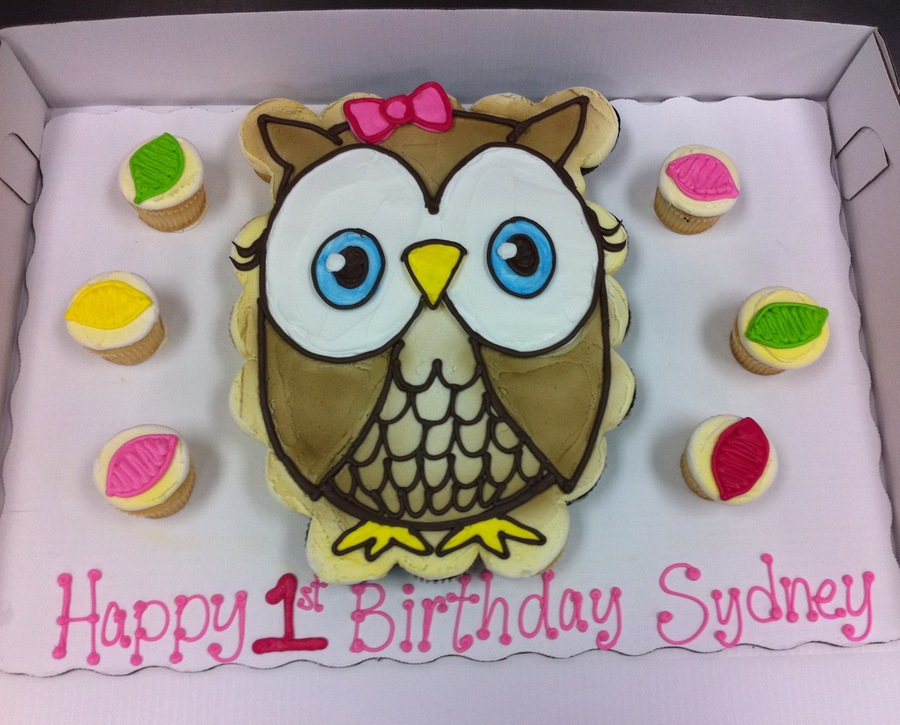 Owl First Birthday Cupcake Cake Cakecentral