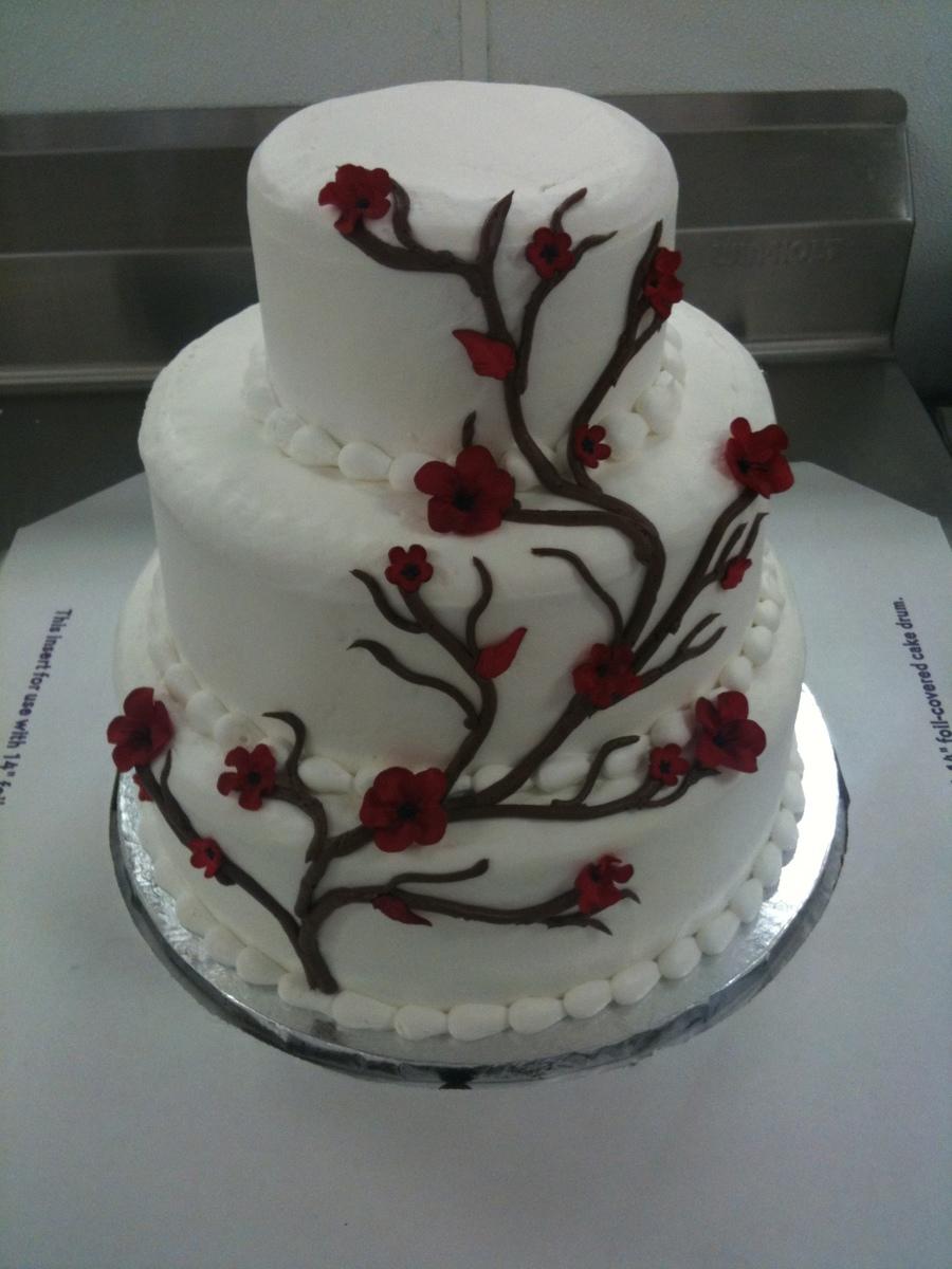 Japanese Cherry Blossom 3 Tier Wedding Cake Cakecentral Com