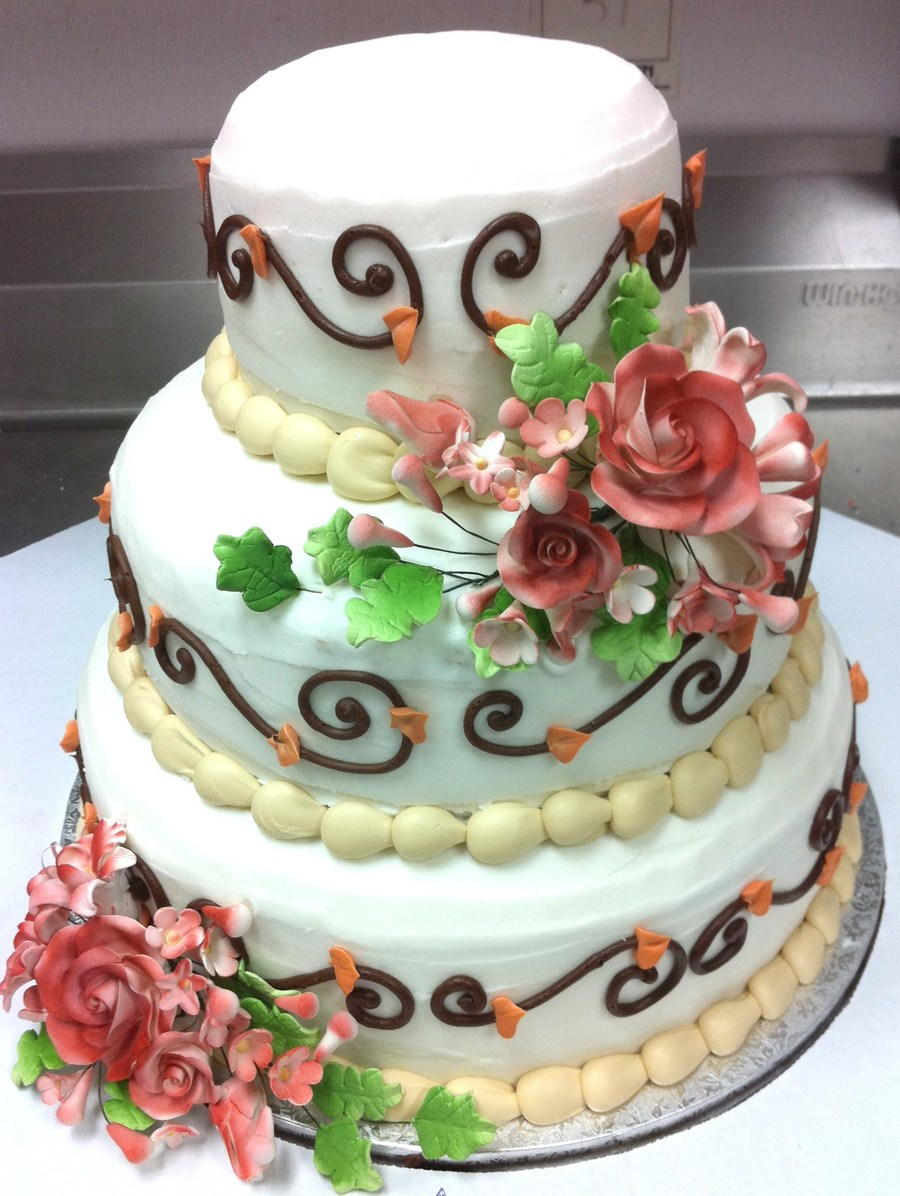 3 Tier Stacked Wedding Cake on Cake Central