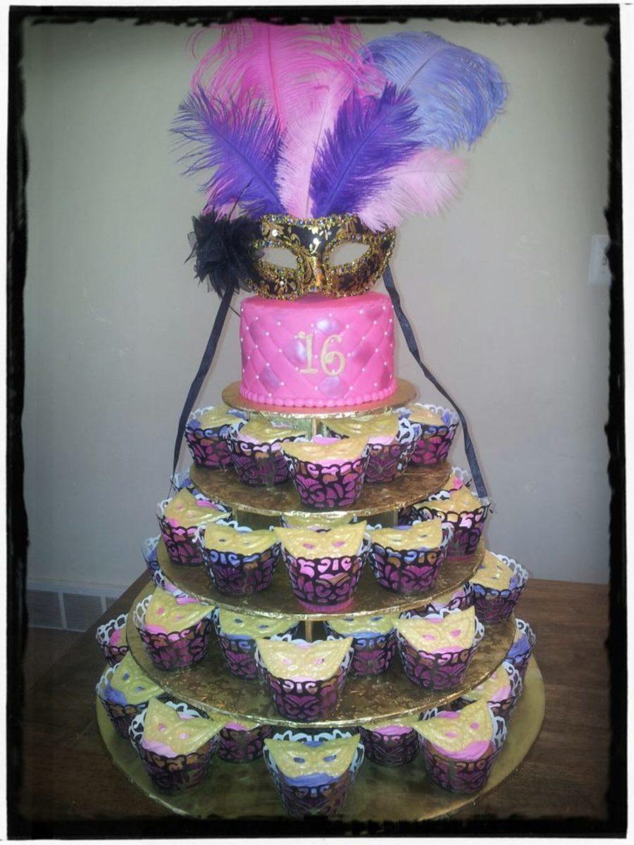 Masquerade Sweet 16 Cupcake Tree With 6 Fondant Cake