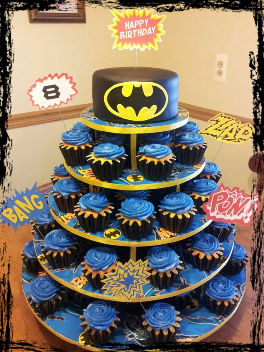 Batman Cake Cupcake Tree How Cupcaketreecom Original Mini Round Tree Batman Gift Wrap Yellow Ribbon Small Glue Dots For Attaching on Cake Central
