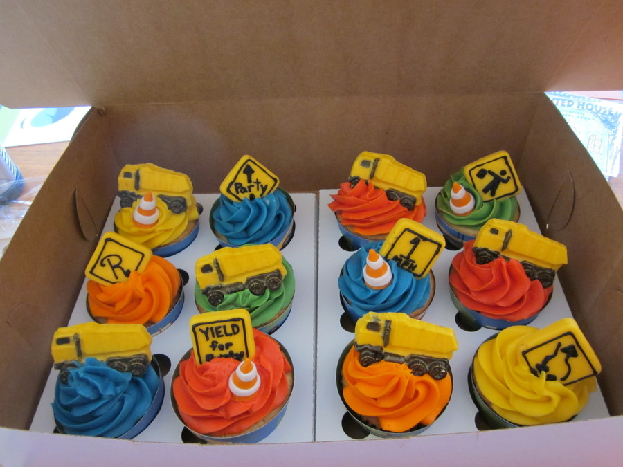 Construction Truck Themed Cupcakes