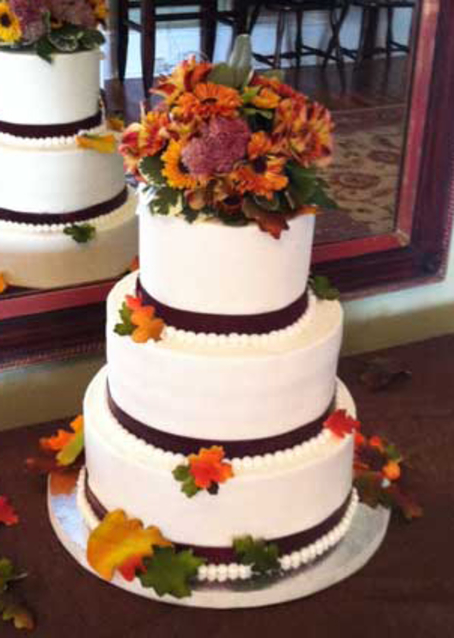 Fall Wedding Fresh Flowers On Top Fondant Leaves All Around Buttercream Frosting on Cake Central
