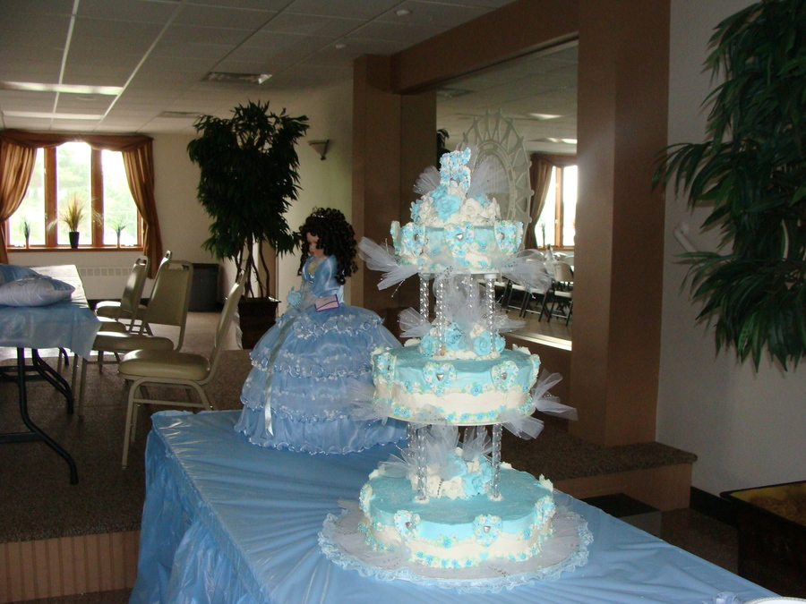 3 Tier Baby Blue Quinceanera Cake Cakecentral Com