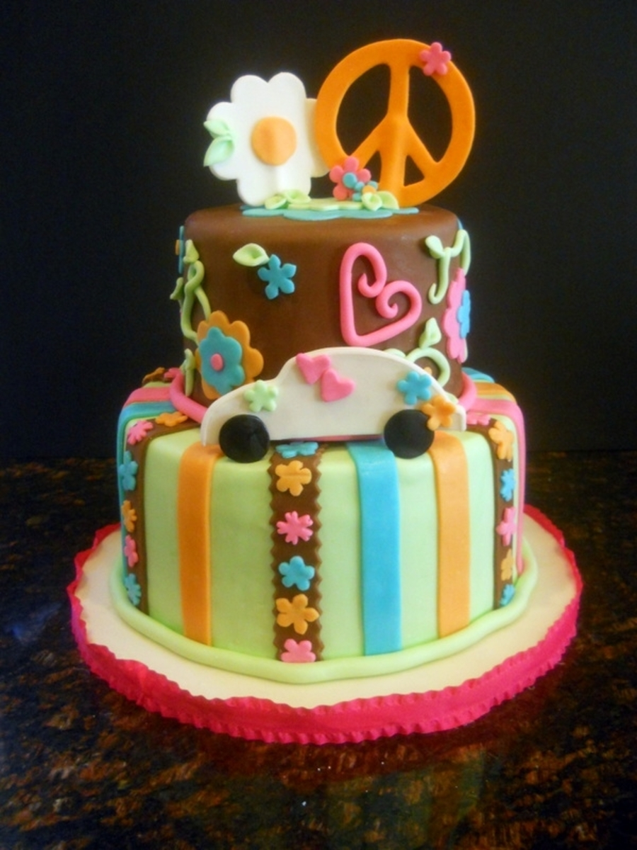 Peace, Love, Vw Bug on Cake Central