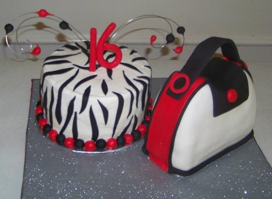 Sweet 16 Zebra Nnd Purse Cake on Cake Central