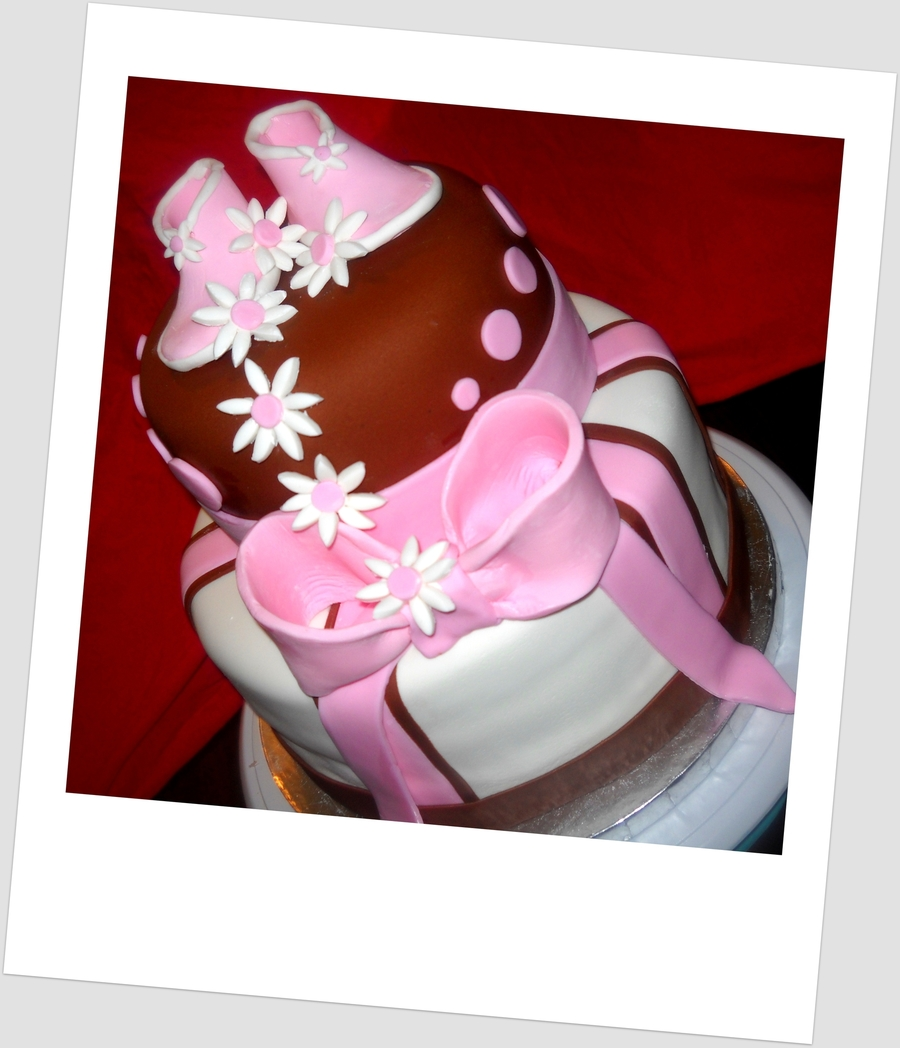 Pink And Brown Baby Shower Cake on Cake Central