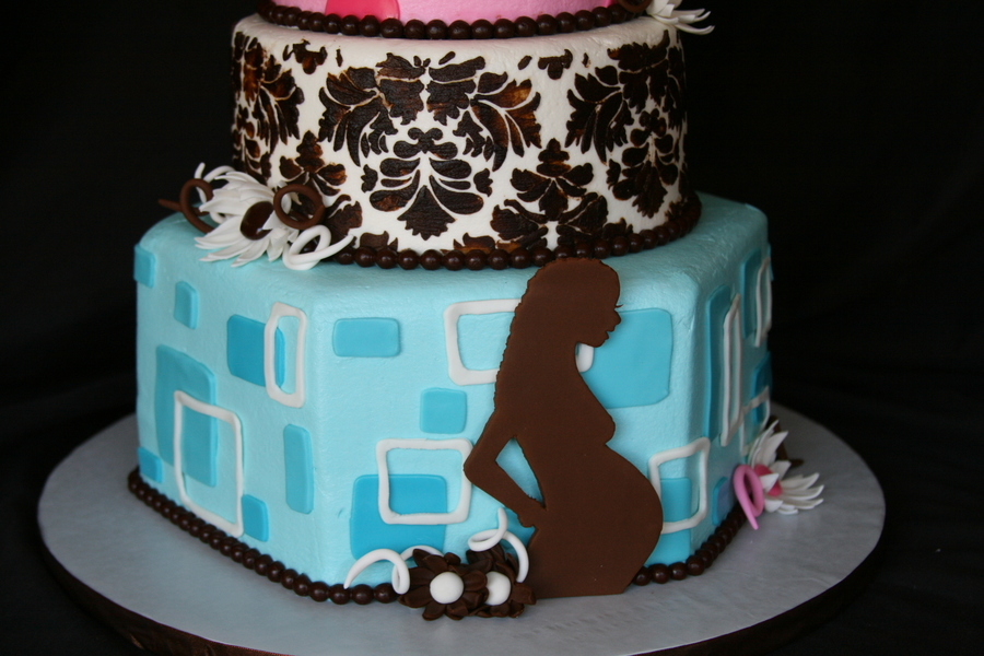 Pink Blue And Brown Modern Mom Baby Shower Cake
