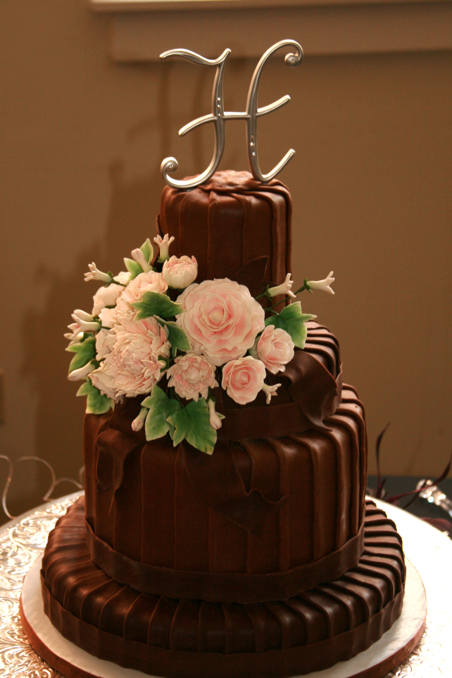 chocolate wedding cake gallery chocolate pleated wedding cake cakecentral 12763