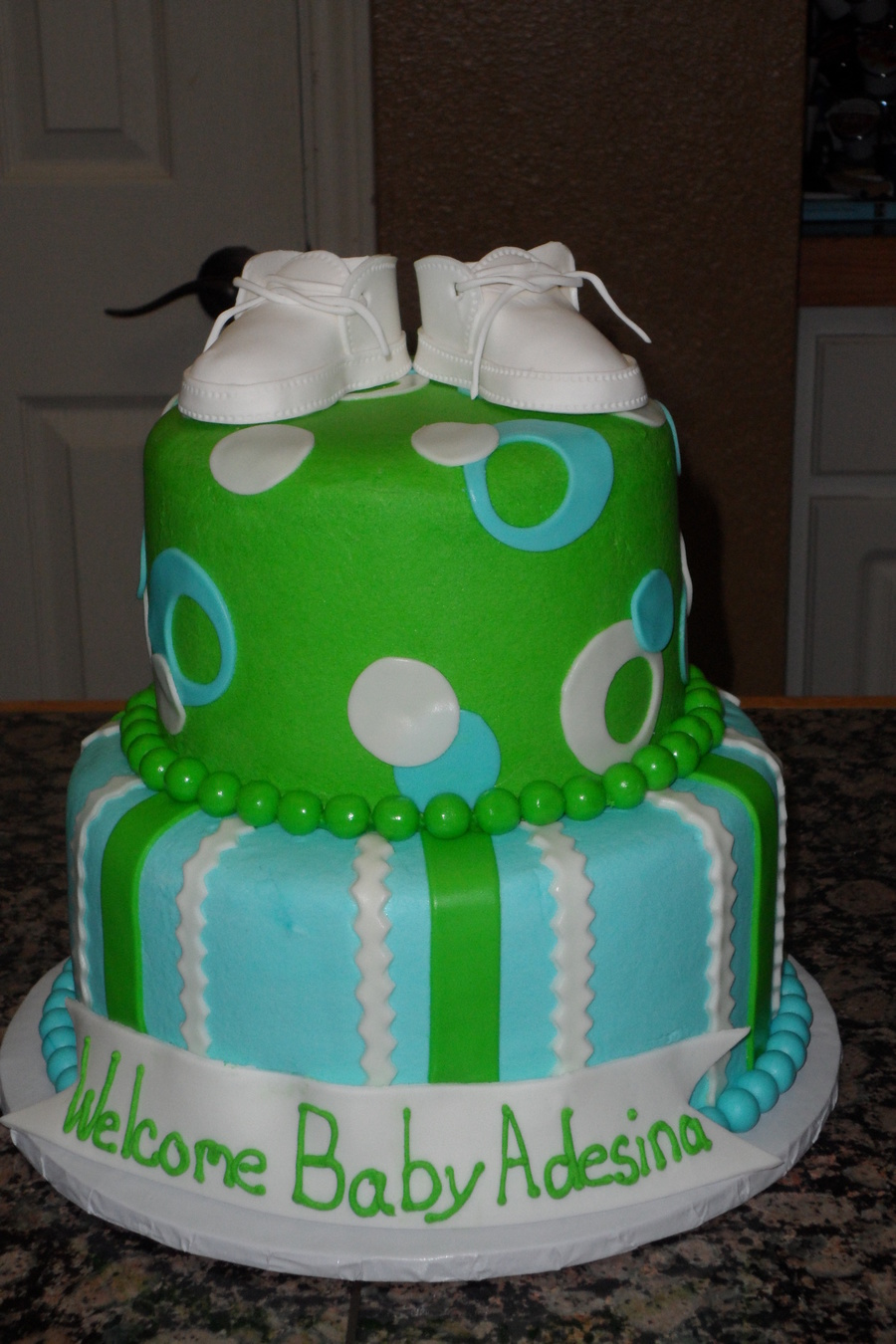 Baby Shower Cakes Blue ~ Lime green and blue baby shower cake cakecentral
