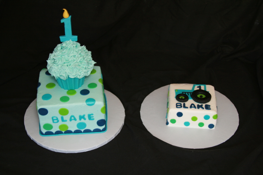 Blue And Green 1St Birthday Cake With Smash on Cake Central