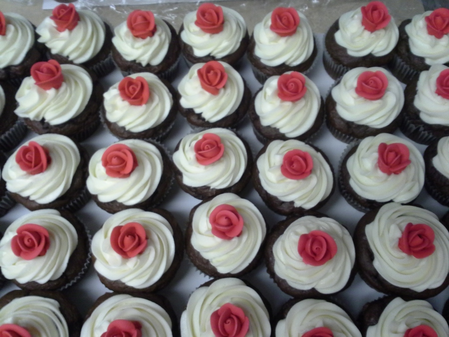 Gumpaste Roses On Dark Chocolate Cupcakes on Cake Central