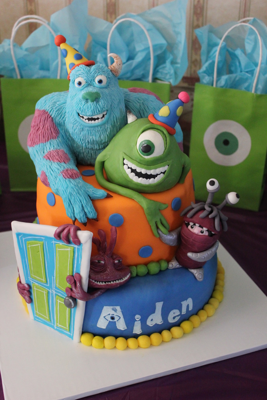 I Love Monsters Inc And So Does My Nephew I Sculpted Sulley From Cereal Treats And Modeling Chocolate Mike Was Sculpted By My Sister Wh on Cake Central