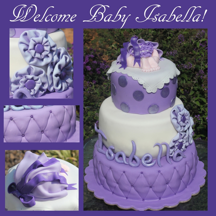 lavender baby shower cake
