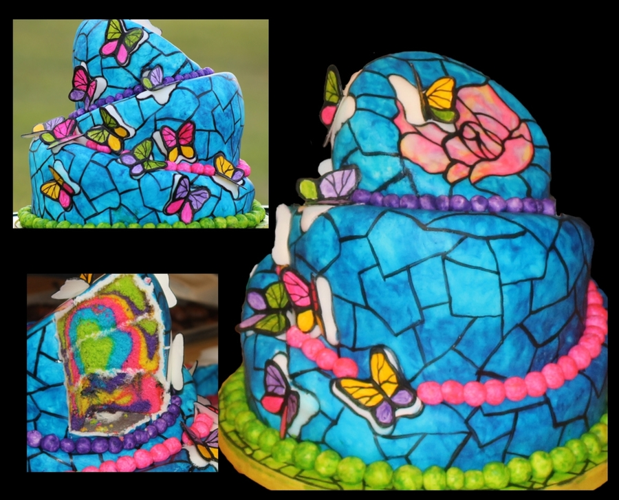 Stained Glass Butterflies  on Cake Central