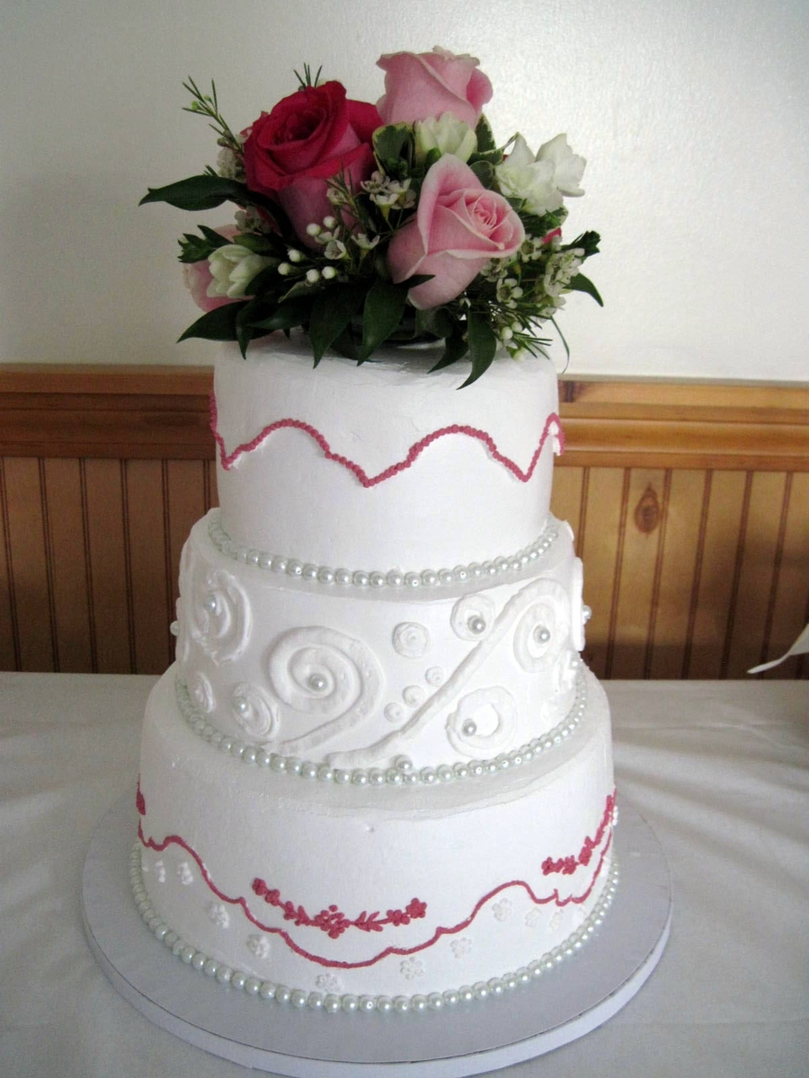 White And Fushia Wedding Cake With Pearls on Cake Central