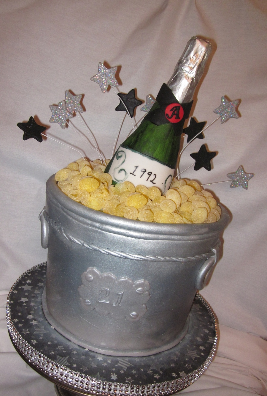 21St Birthday Cake Ice Bucket Is The Champagne Bottle Made From Chocolate Cubes