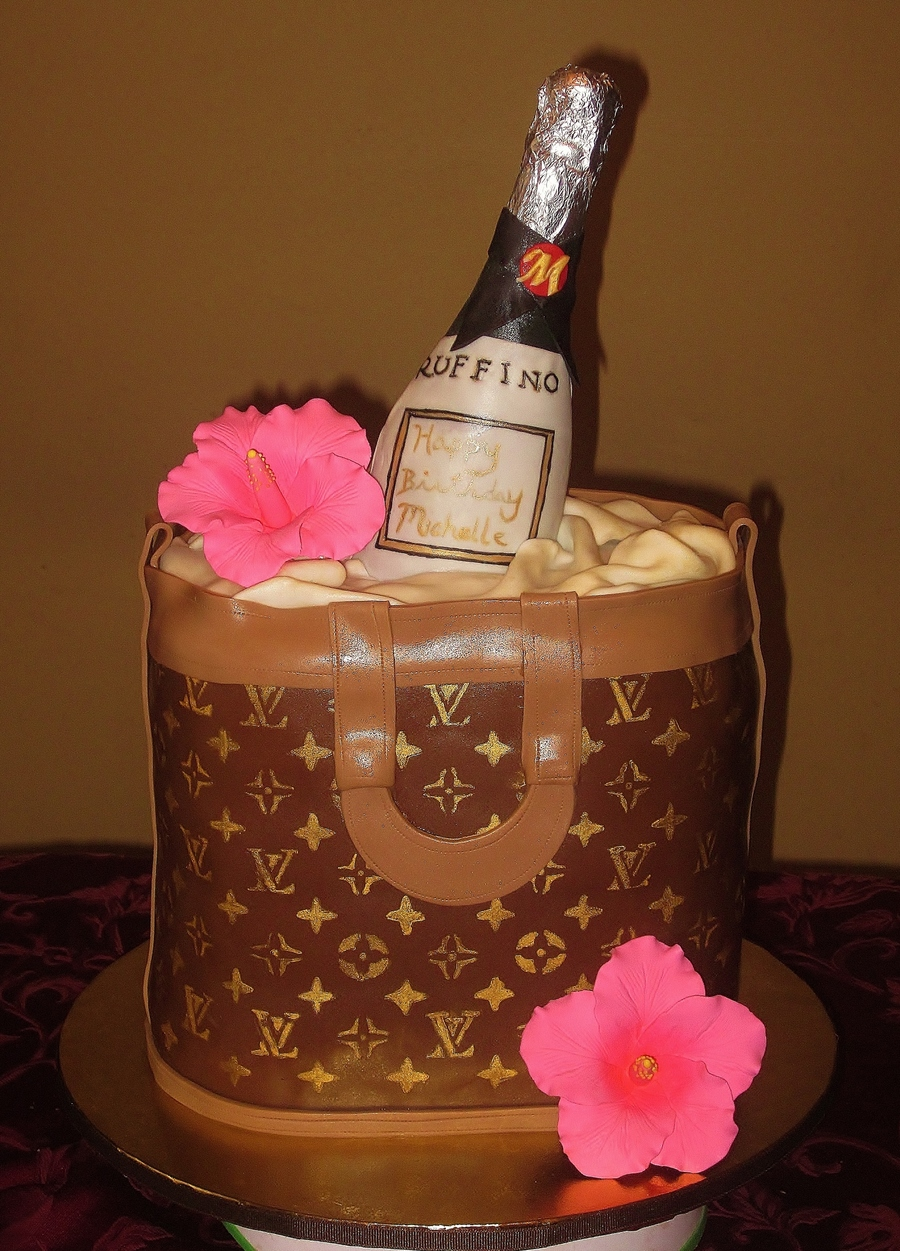 Louis Vuitton Bag Cake With Chocolate Wine Bottle On Central