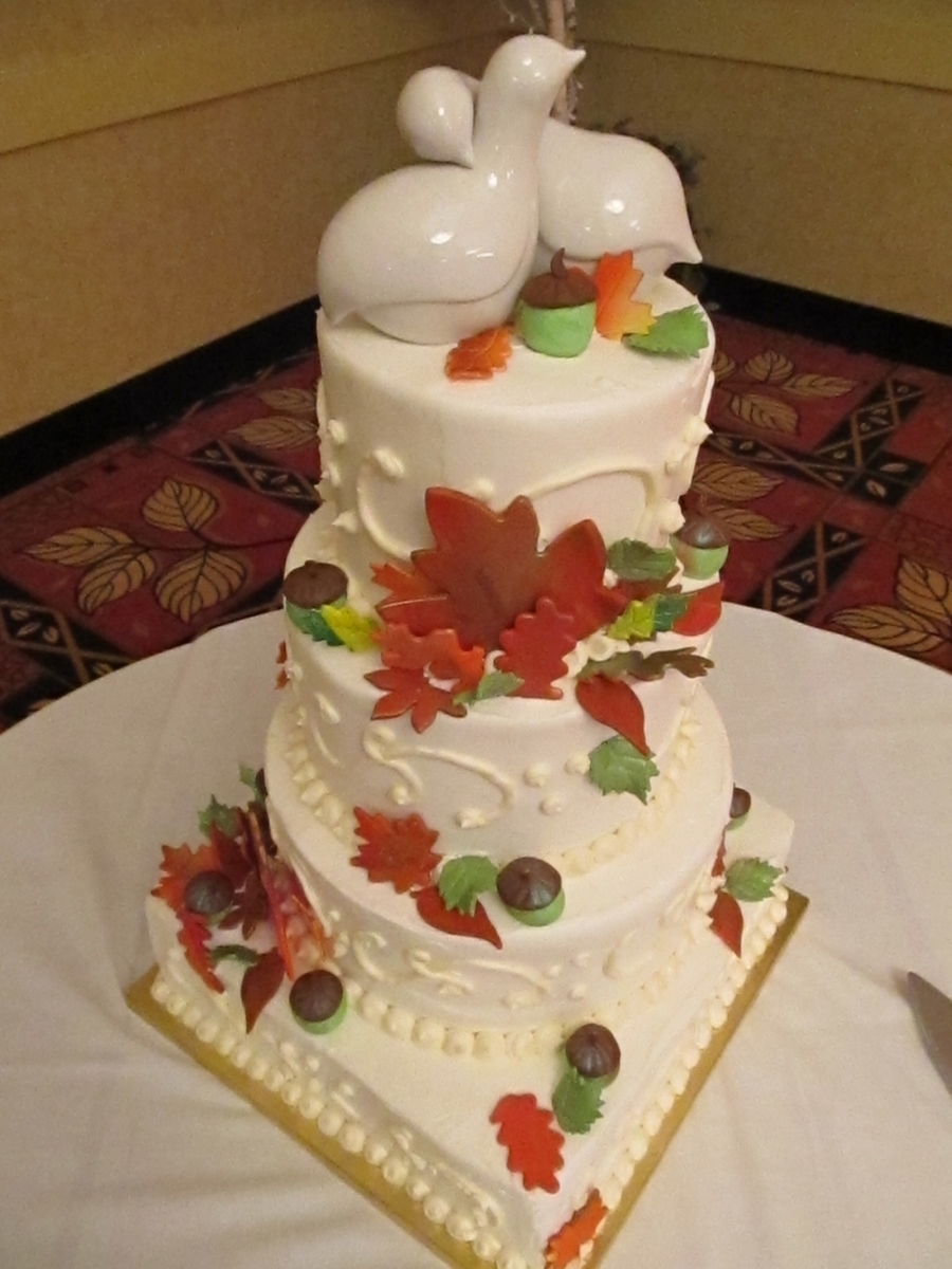 Fall Leaves Wedding Cake  on Cake Central
